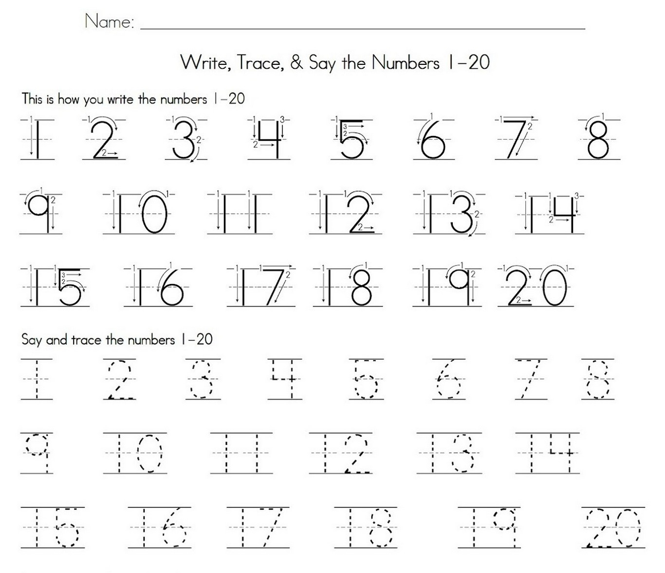 worksheet Number 1 Worksheet trace number 1 20 worksheet learning printable practice
