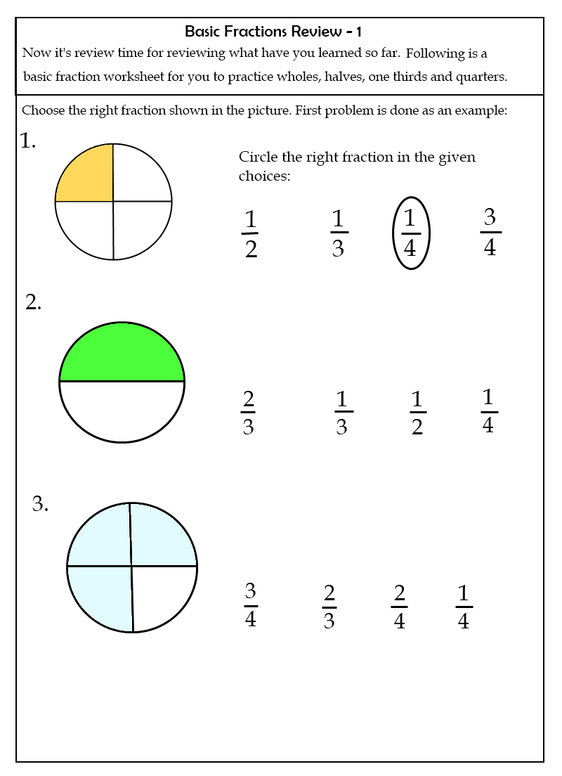 Easy Fraction Worksheets