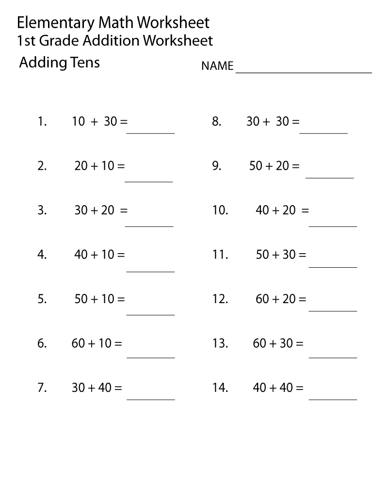 Elementary Math Worksheets 1st