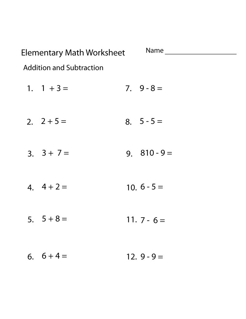 Elementary Math Worksheets Free