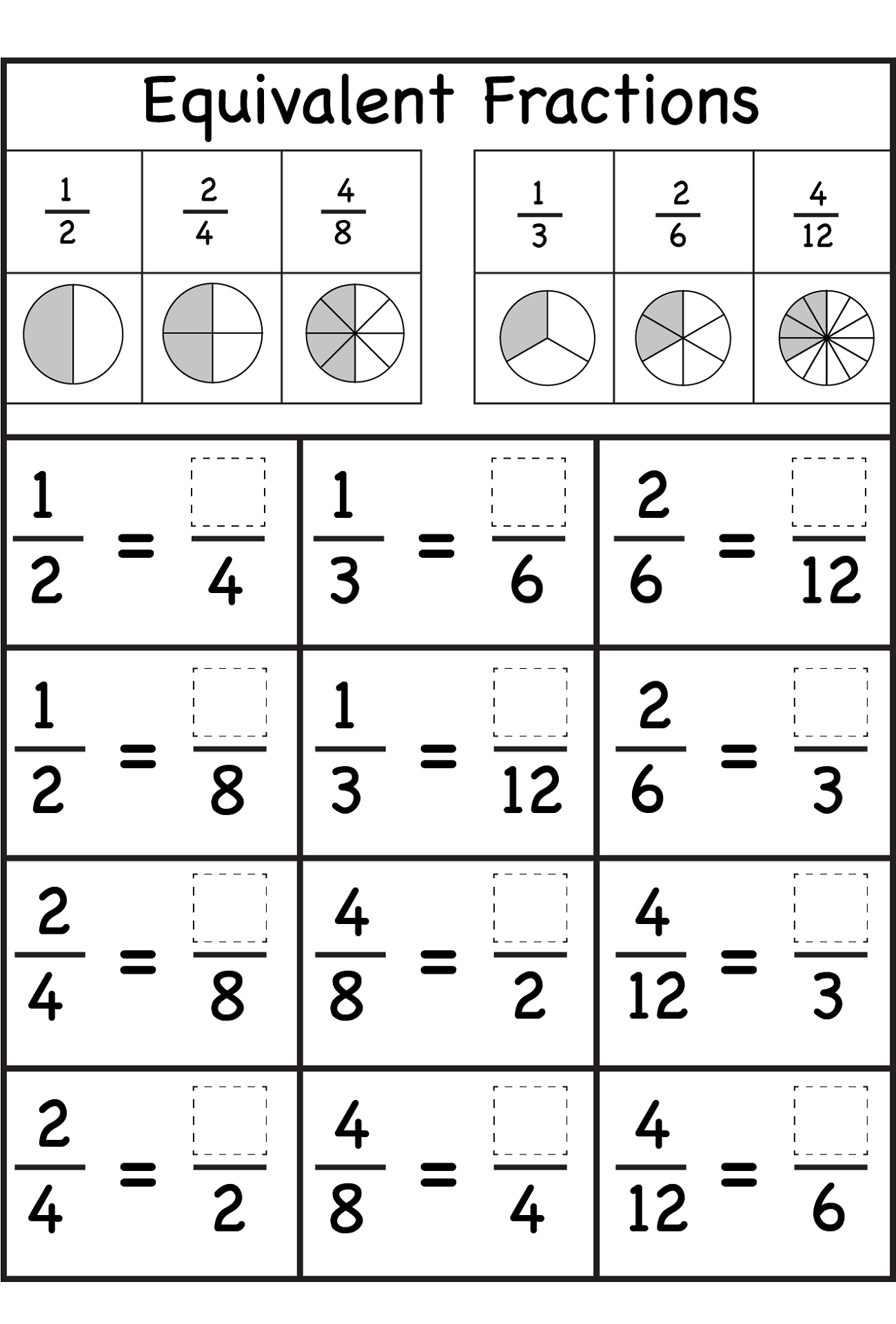 Easy to Hard Fraction Worksheets for Kids | Learning Printable