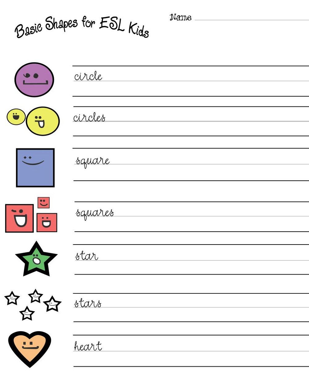 Esl Worksheets for Kids Activity
