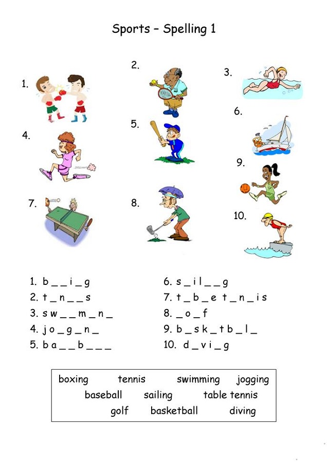 Esl Worksheets for Kids Sport