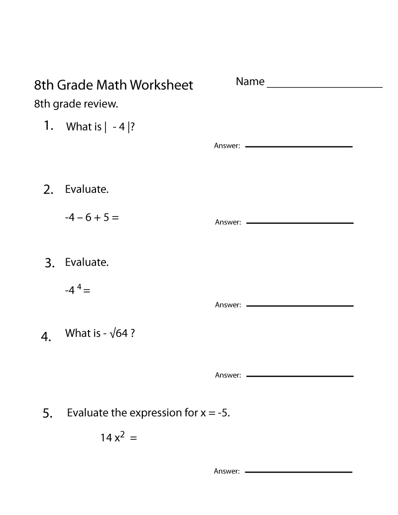 Compilation of Best Grade 8 Math Worksheets Printable | Learning ...