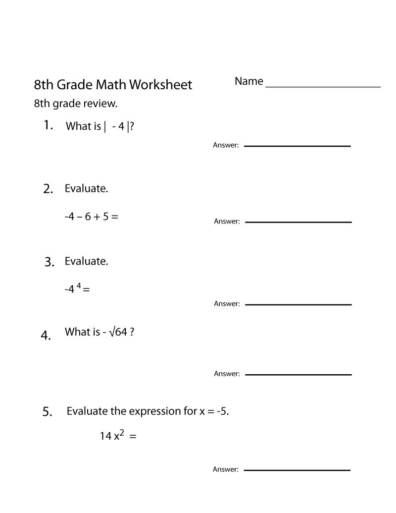 Grade 8 Math Worksheets Printable Review