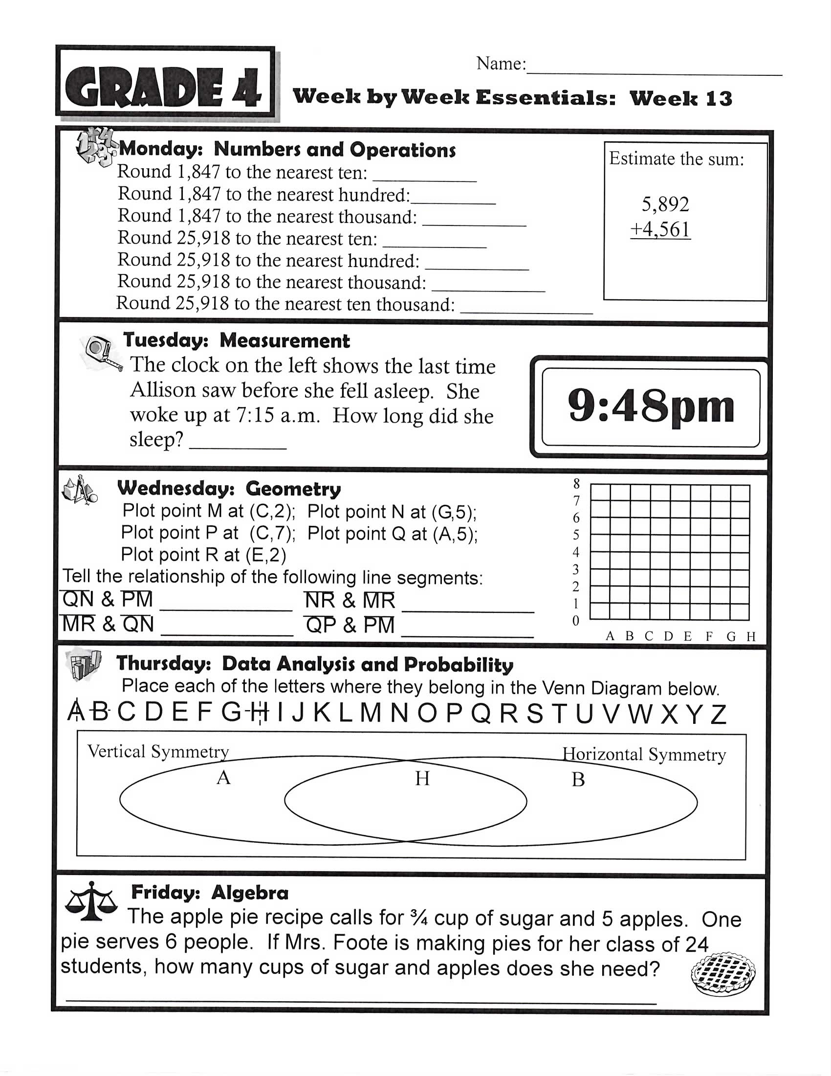 Homework Printables 4th