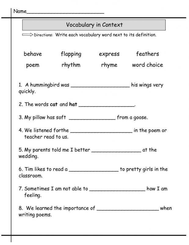 Language Worksheets 2nd Grade
