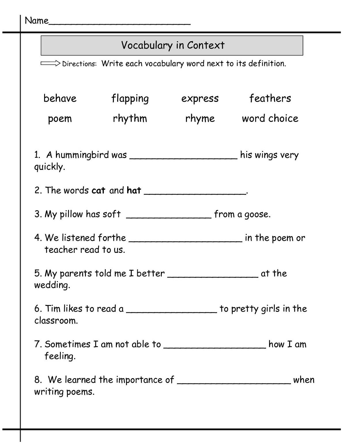 Language Worksheets 2nd Grade