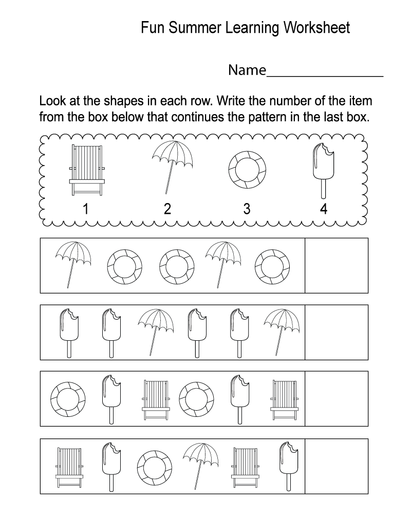 Learning Worksheets Summer