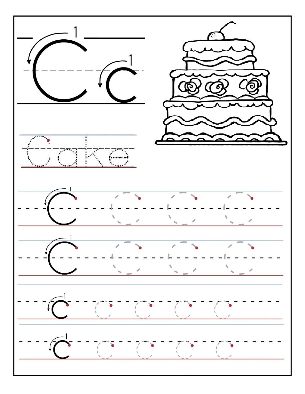 Learning to Write Worksheets Cake