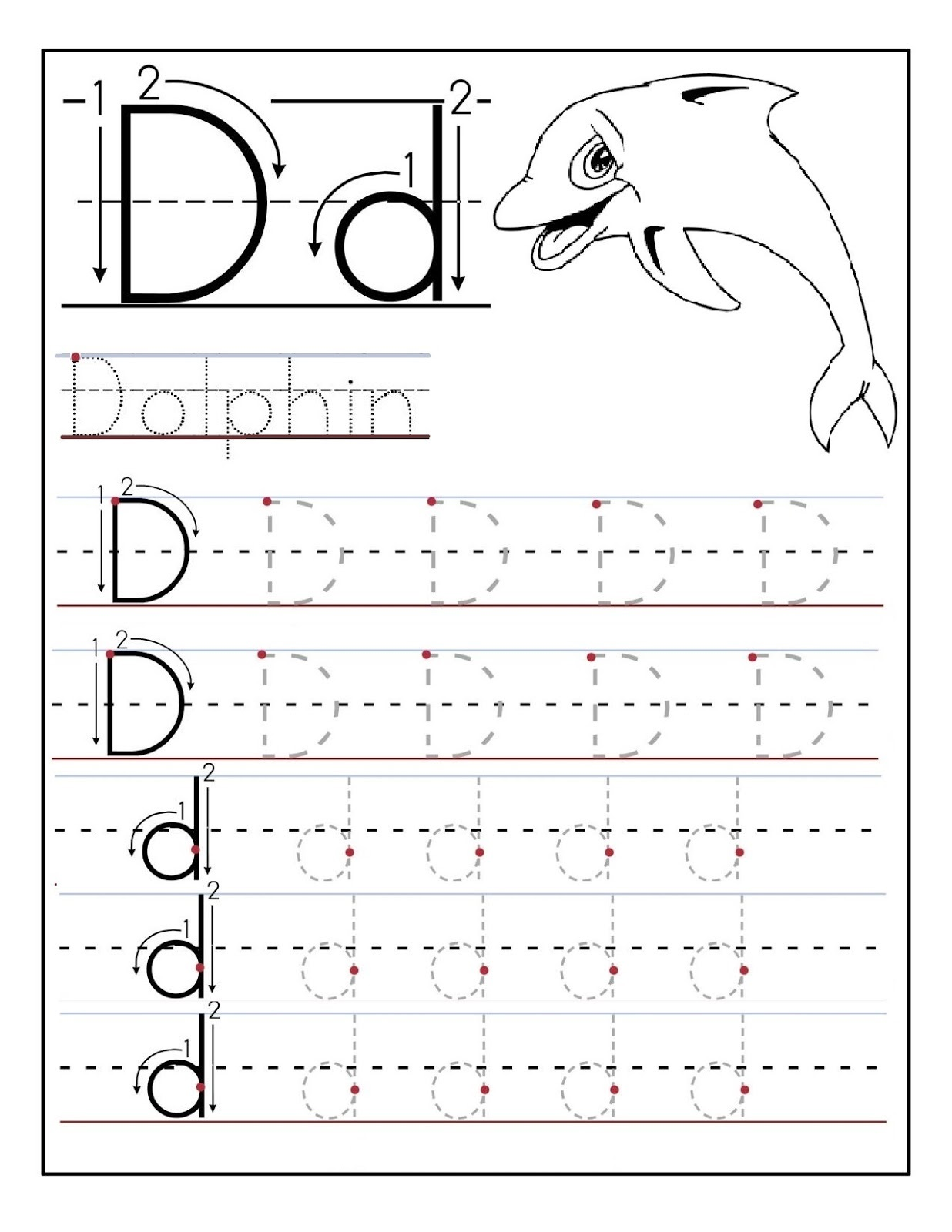 Learning to Write Worksheets Dolphin