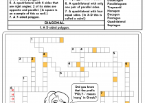 Math Games Worksheets Crossword