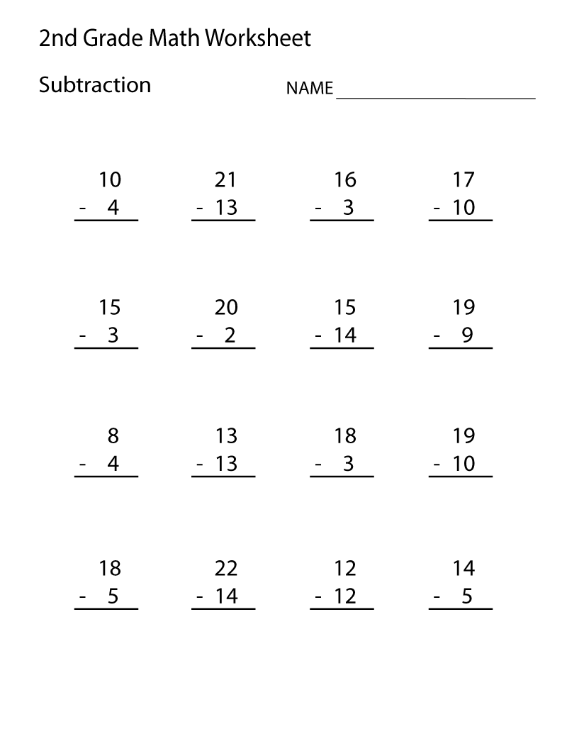 Printable 2nd Grade Math Worksheets Subtraction