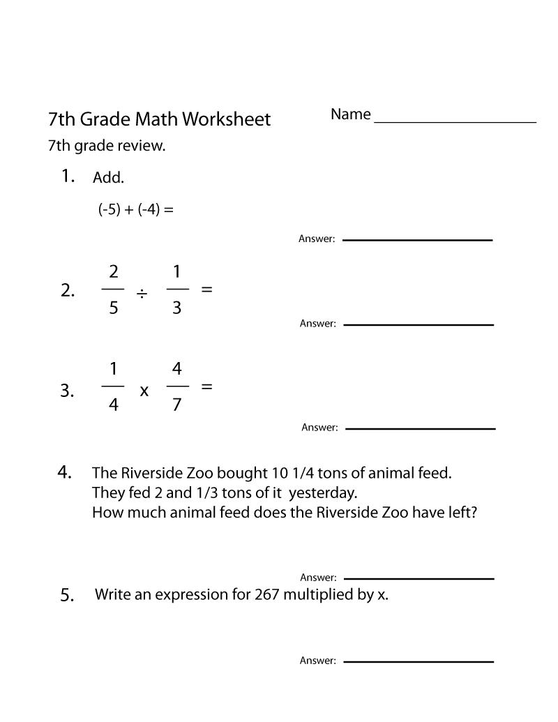 printable seventh grade math worksheets learning printable. Black Bedroom Furniture Sets. Home Design Ideas