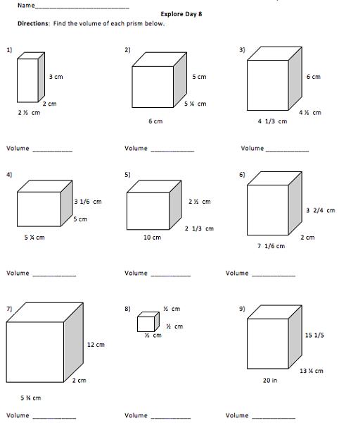 Seventh Grade Math Worksheets Volume