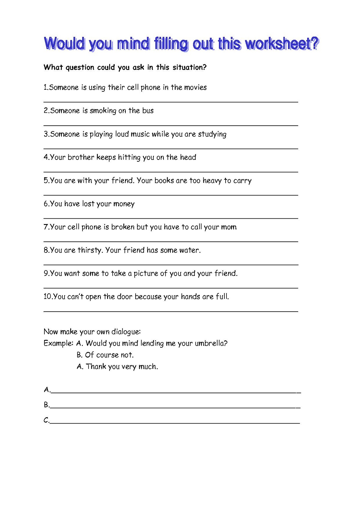 English Worksheets to Print Esl
