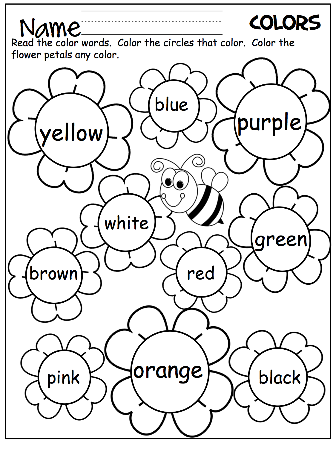 Kindergarten English Worksheets Colour Learning Printable