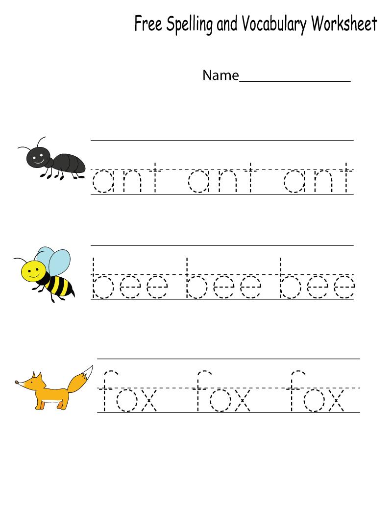 Kindergarten English Worksheets Spelling