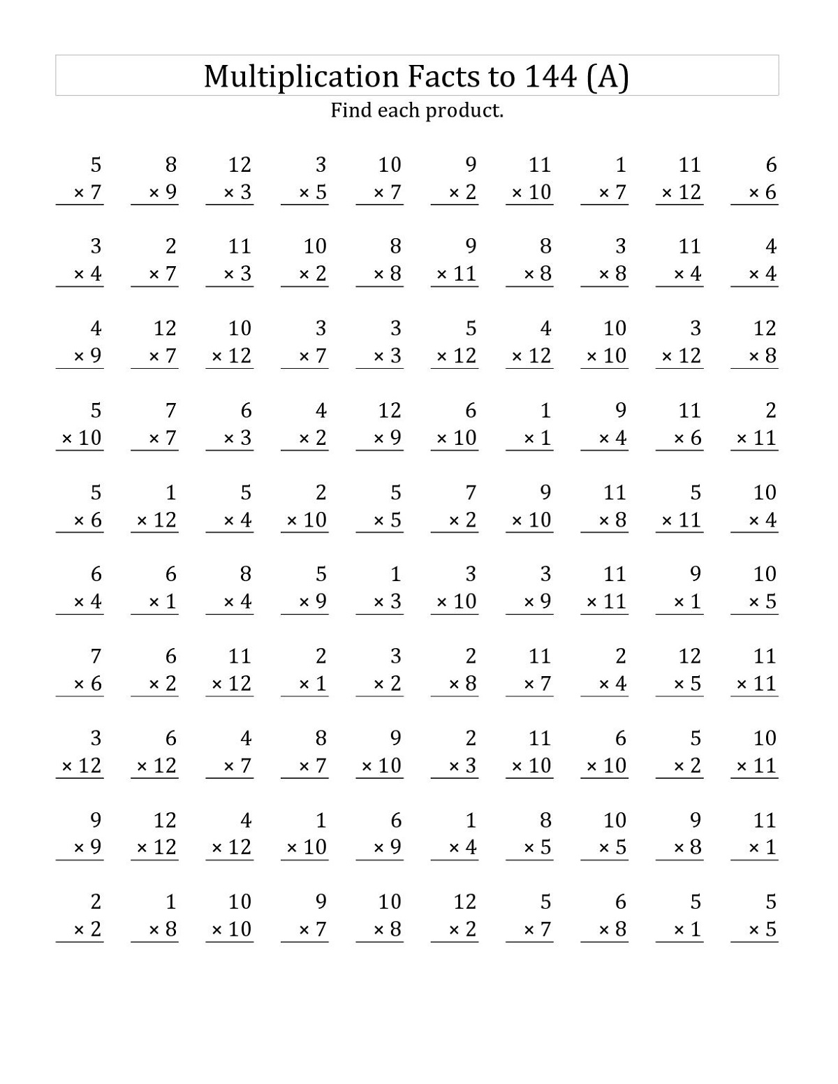 Math Facts Worksheets Multiplication