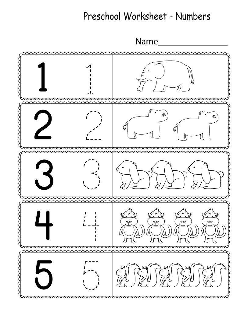 Preschool Worksheets Pdf Number