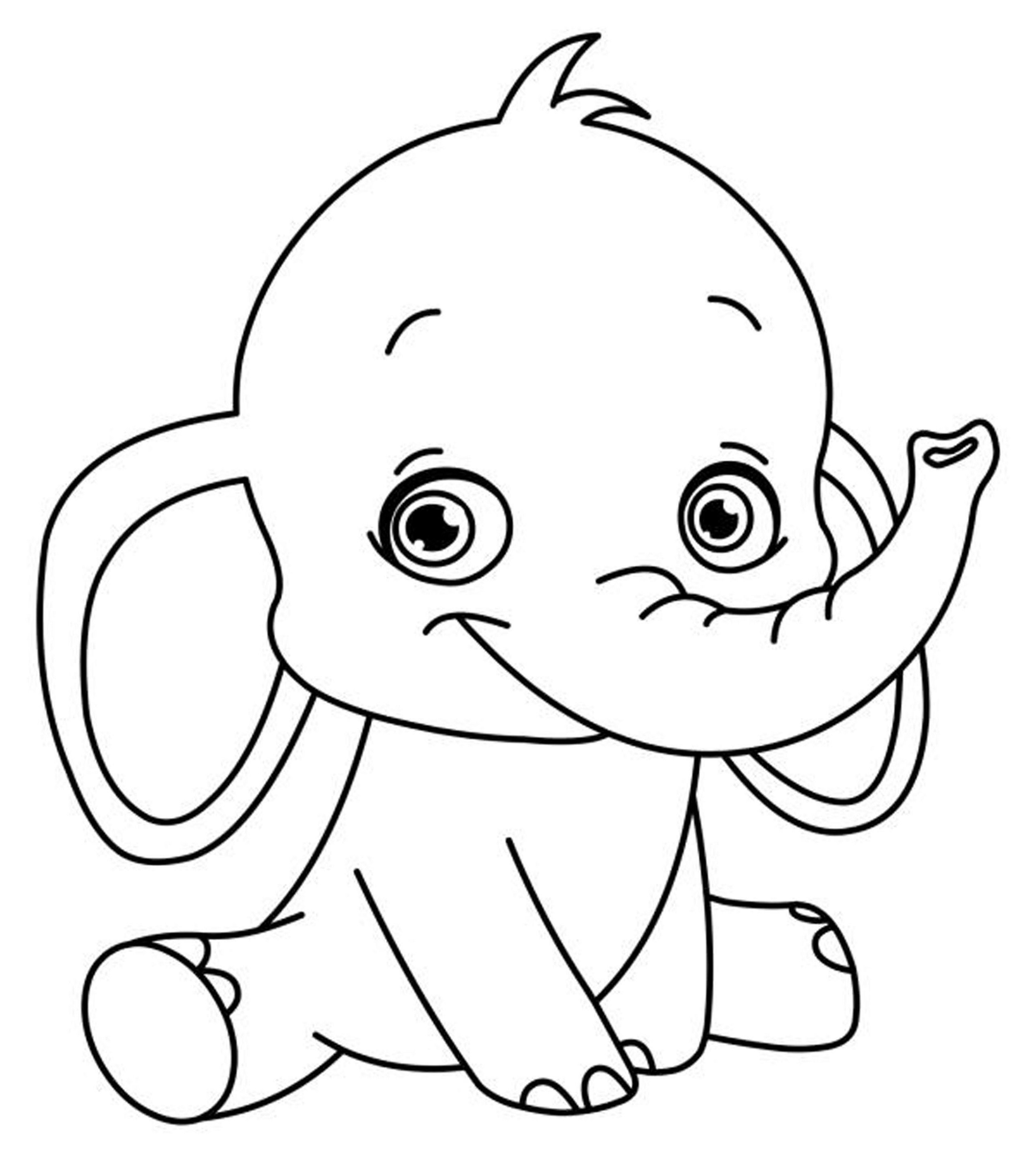 Easy Printable Coloring Pages Elephant