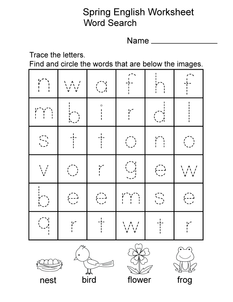 English for Kindergarten Free Worksheet Spring
