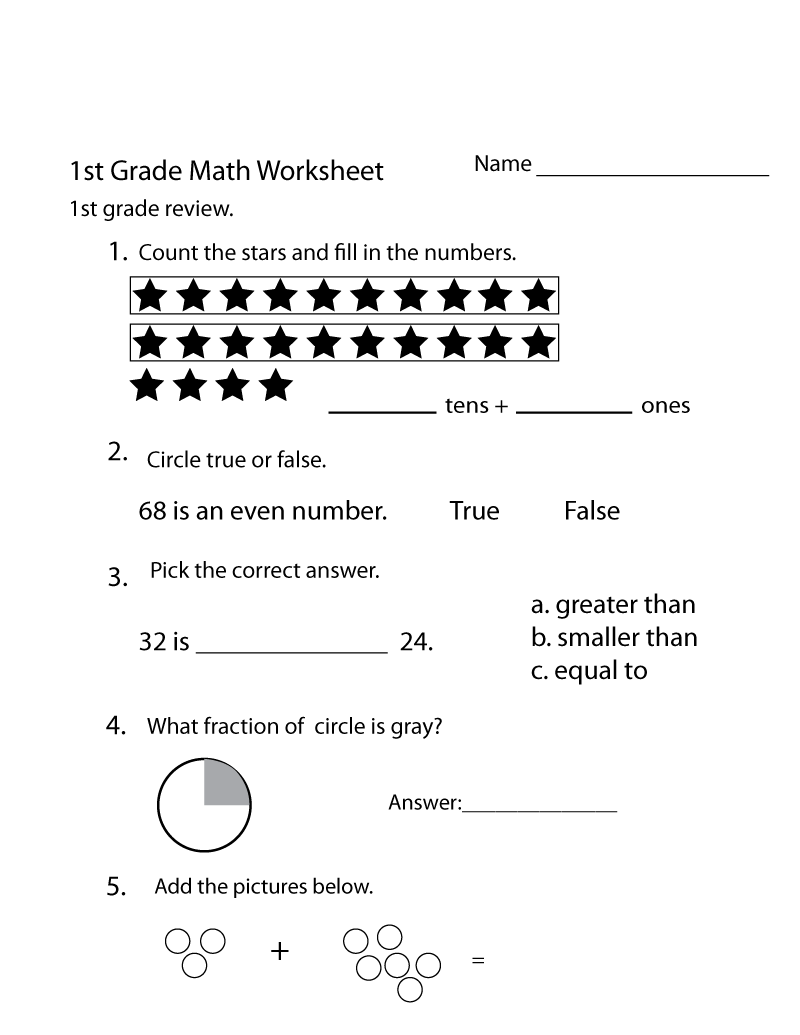 Free Math Worksheets for Grade 1 Review