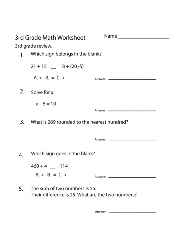 Free Printable Worksheets for 3rd Grade Review