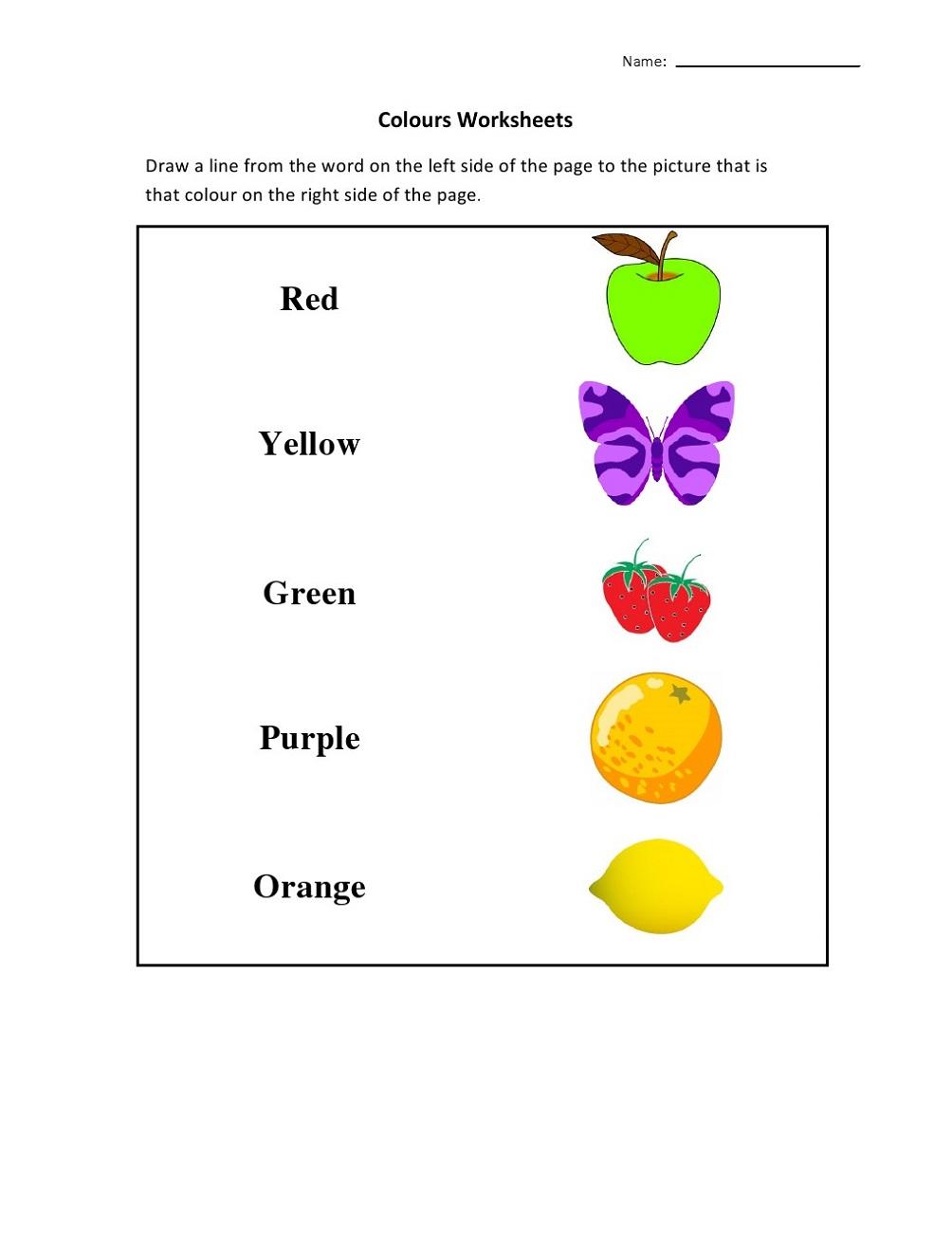 Free Printable Worksheets for Lkg Colours