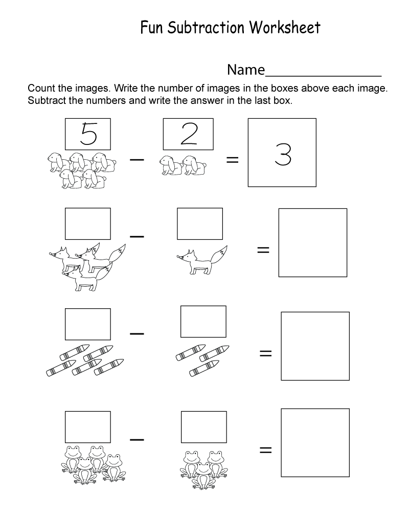 Fun Worksheets for Kindergarten Subtraction
