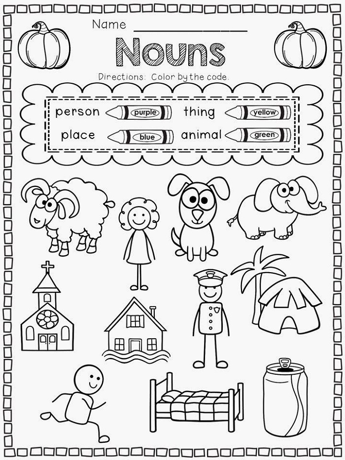 Kindergarten Printable Worksheets Noun