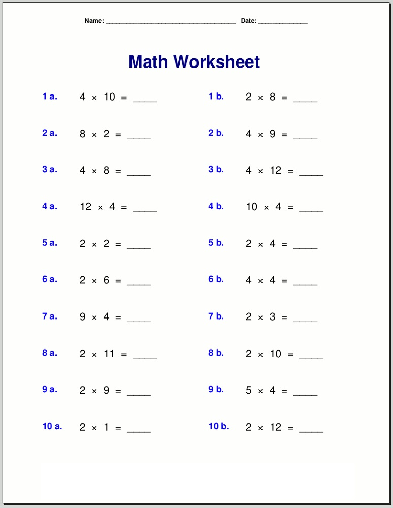 times table practice sheets free