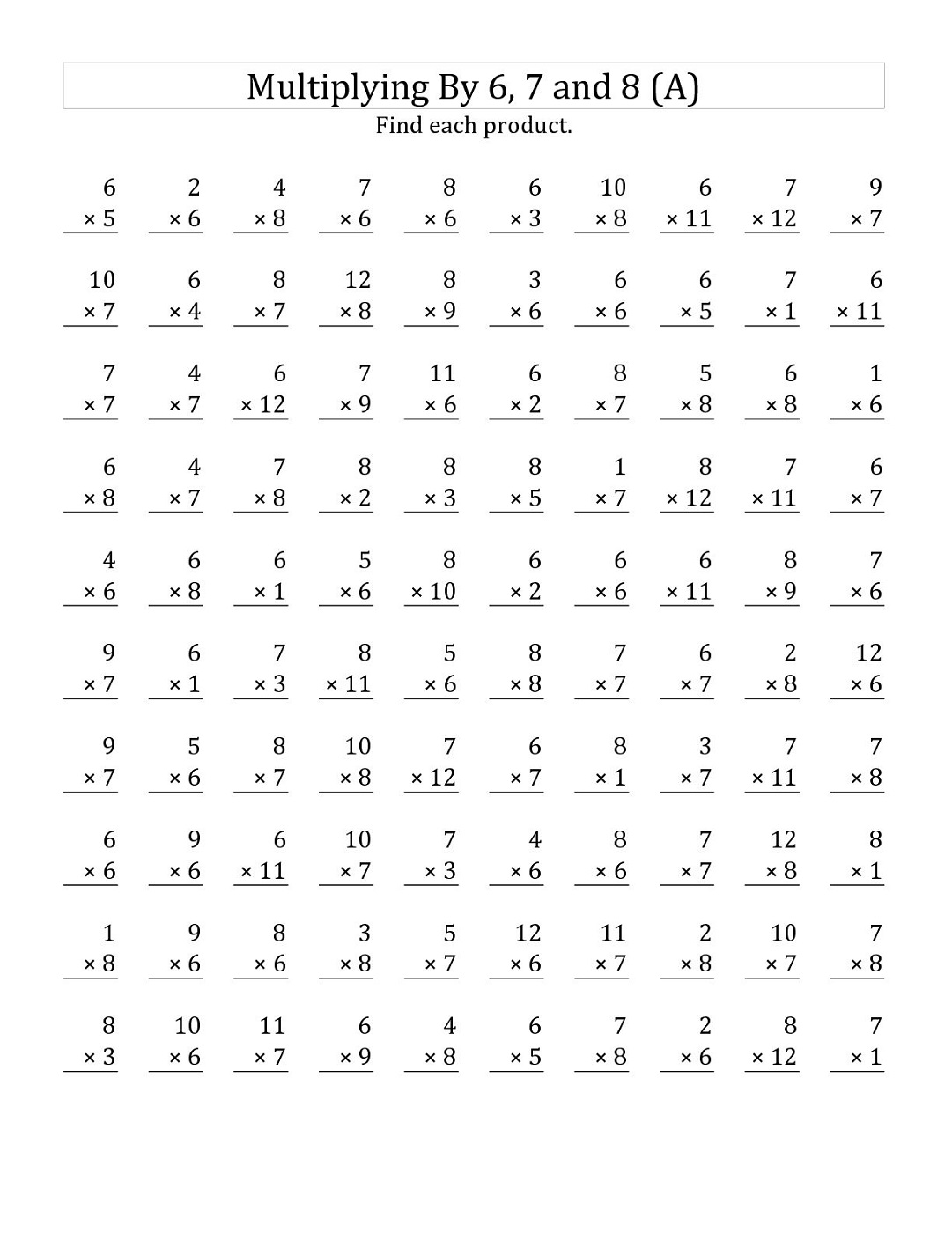 times table practice sheets printable