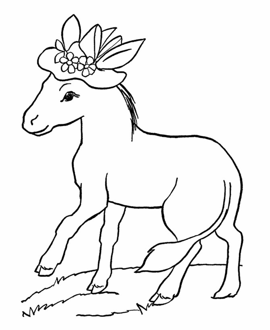 Free Colouring Pictures for Children Donkey