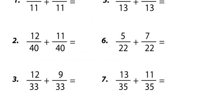 Grade 5 Math Worksheets Fraction