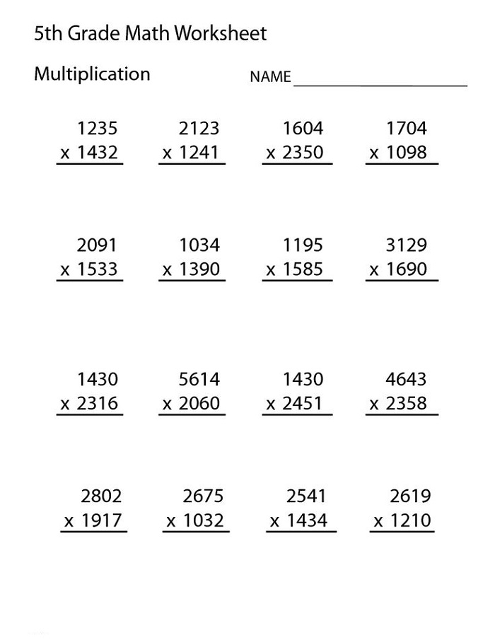 Grade 5 Math Worksheets Multiplication