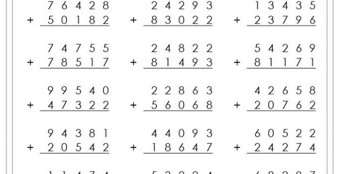 Grade 8 Math Worksheets Addition
