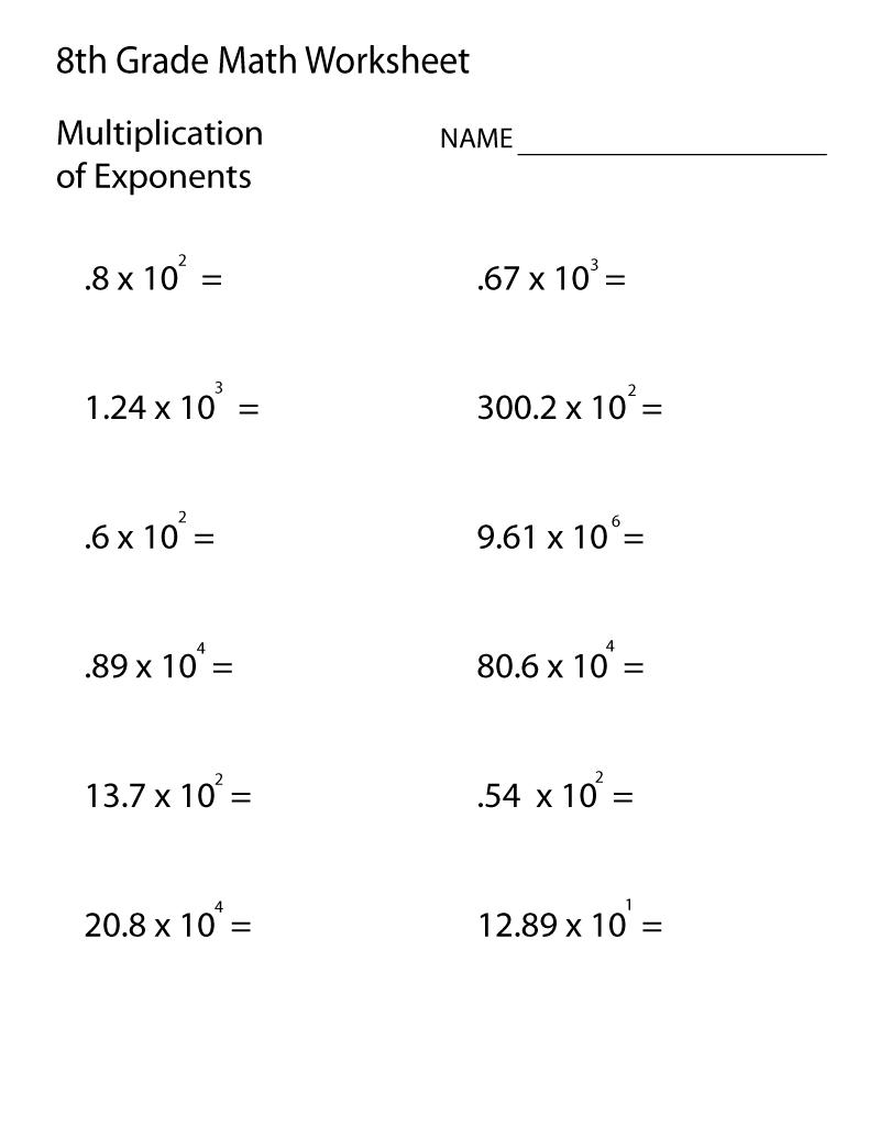 Grade 8 Math Worksheets Exponent