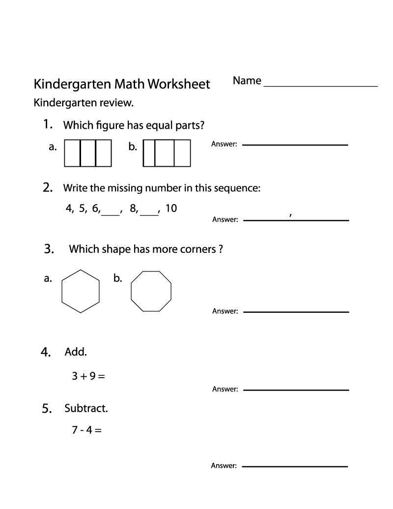 Kindergarten Practice Worksheets Math