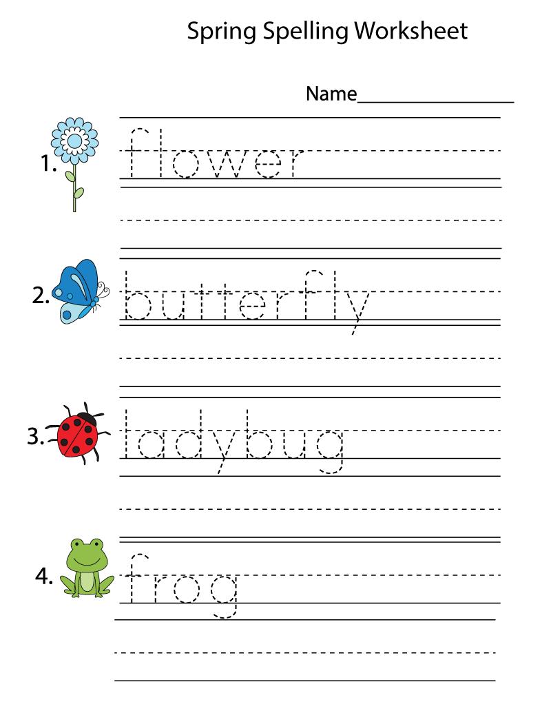 Kindergarten Printing Worksheets Spelling