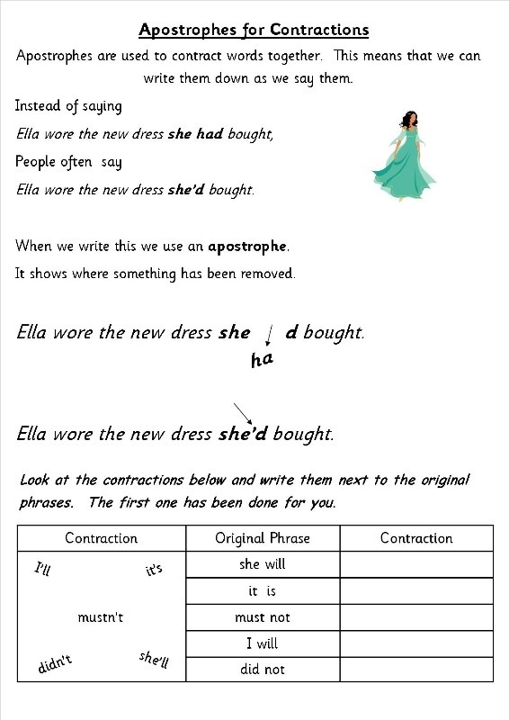 Ks2 English Worksheets Learning Printable. Ks2 English Worksheets Contractions. Worksheet. English Worksheets At Clickcart.co