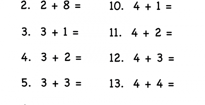 Math Addition Worksheets for Kids