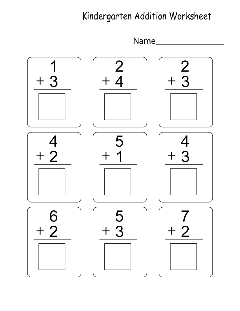 Math Addition Worksheets for Toddlers
