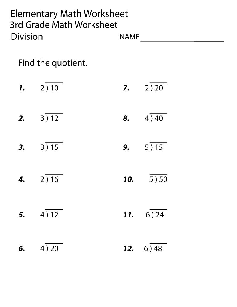 Math Division Worksheets Free