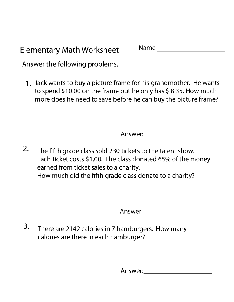 Math Word Problems Worksheets Free