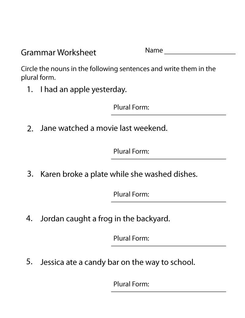 Year 4 English Worksheets Free Printable Grammar