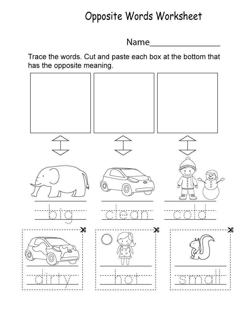 Kindergarten English Worksheets Free Printables Opposite