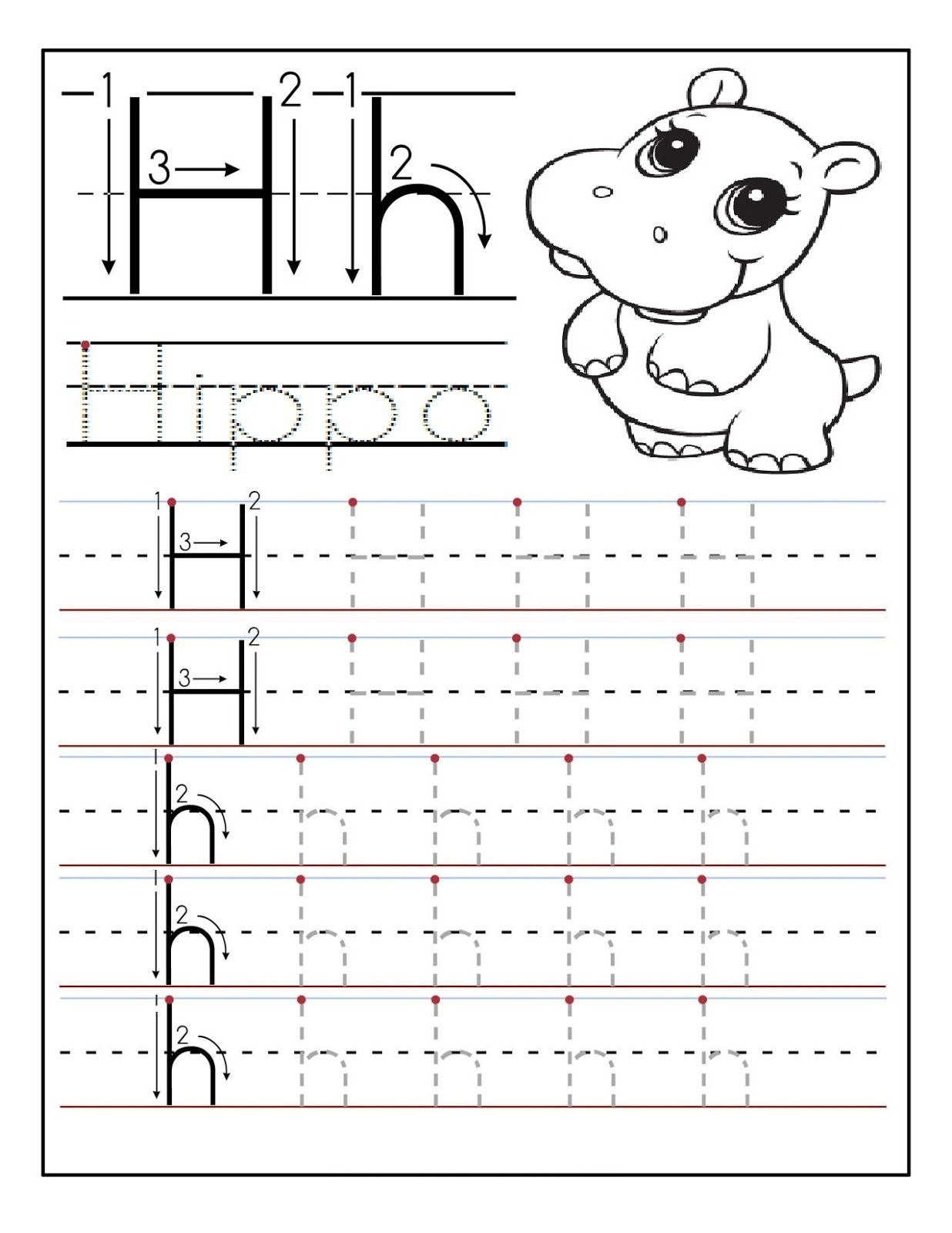 Preschool Printable Activities Hippo