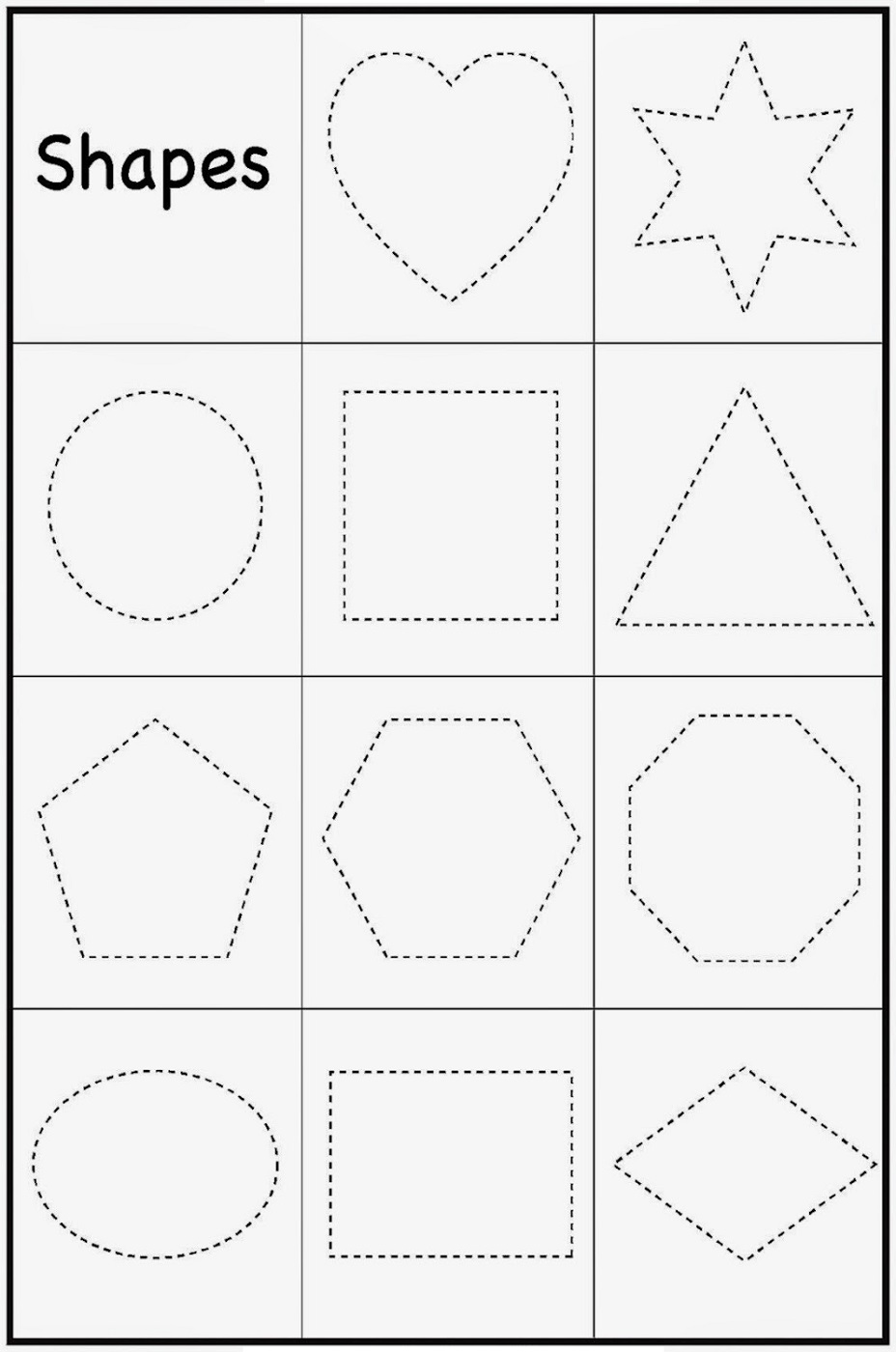 Printable Toddler Worksheets Shape