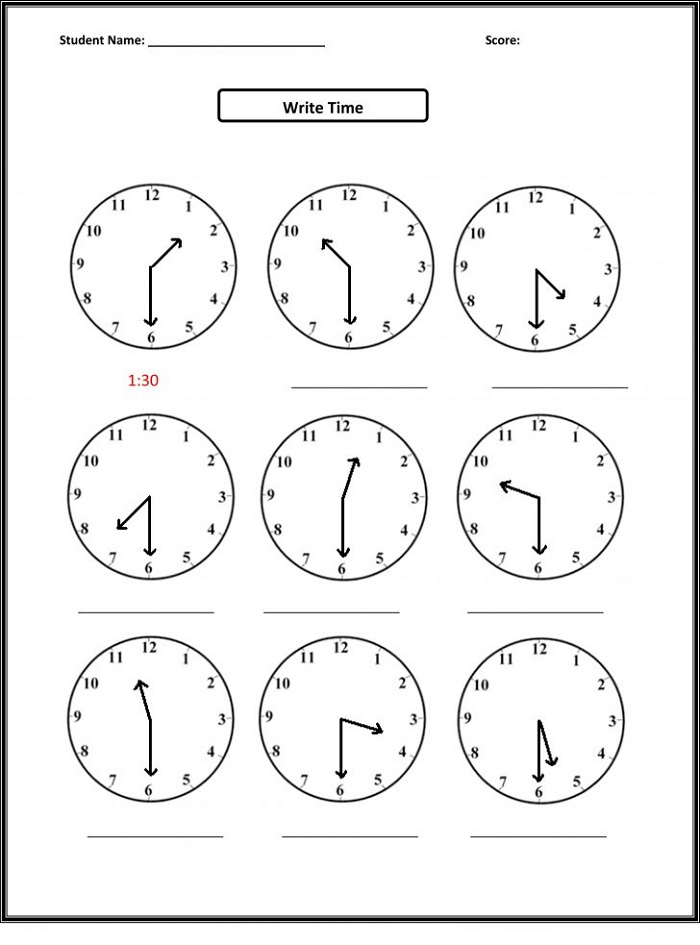 Worksheets for 4 Year Olds Time